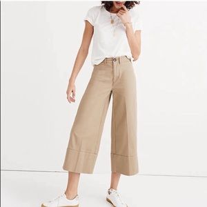 Madewell Langford Wide-Leg Tan Crop Pants Size 27
